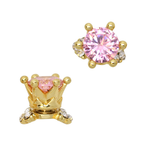 3D Nail Art Charm Jewelry Crystal Crown / Fidget Charm / Gold / Pink