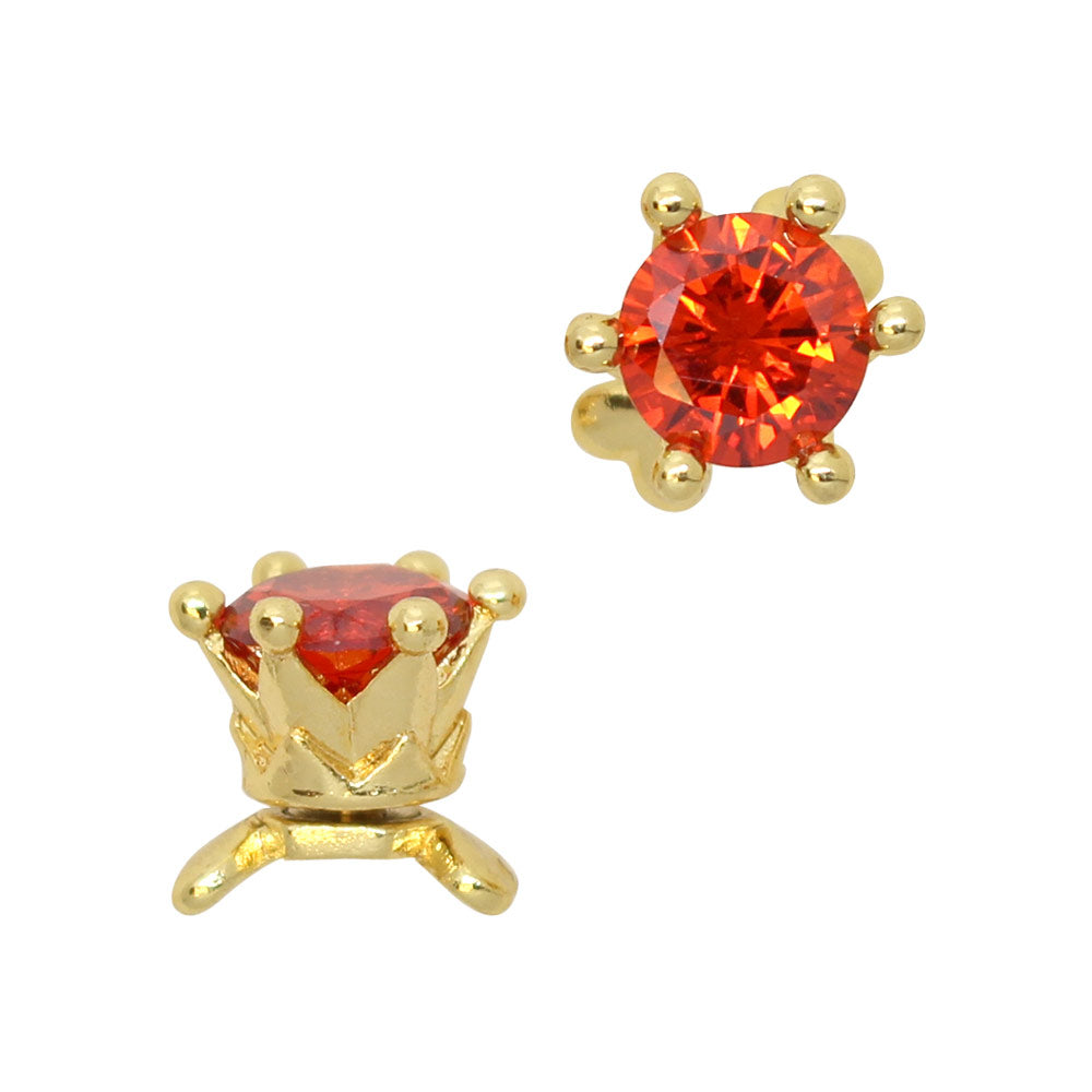 3D Nail Art Charm Jewelry Queen of Hearts/ Fidget Charm / Gold / Red