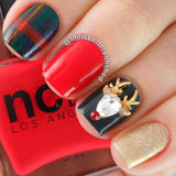 Rudolph The Reindeer / Swarovski Charm 3D Nail Art Christmas Holiday