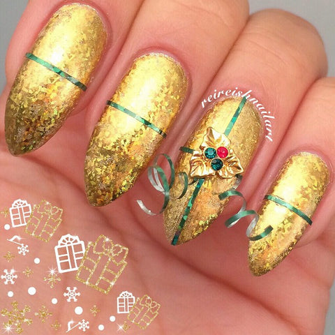 Christmas Nail Art Charm Holiday Holly Rhinestone Crystal Jewelry