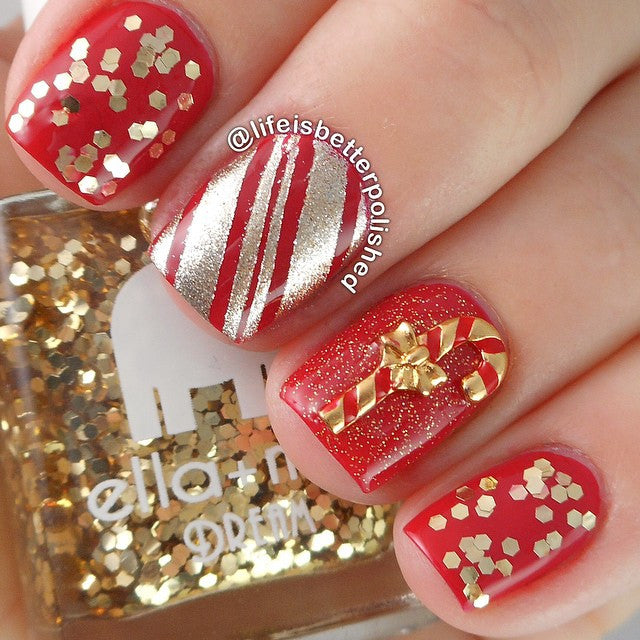 Christmas Nail Art Charm Candy Cane Gold Rhinestone Crystal Jewelry