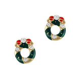 Christmas Nail Art Charm Gold Christmas Wreath  Rhinestone Crystal Jewelry