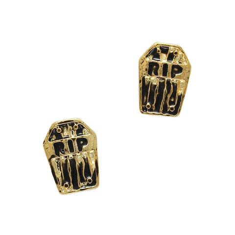 Creative Halloween Nails Gold Tombstone RIP Charms