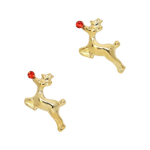Run Rudolph Run / Gold Reindeer Christmas Nail Jewelry Charm Holiday