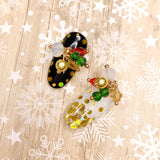 Pom Pom Gem Dangles / Festive Holiday Christmas Nail Charm Jewelry