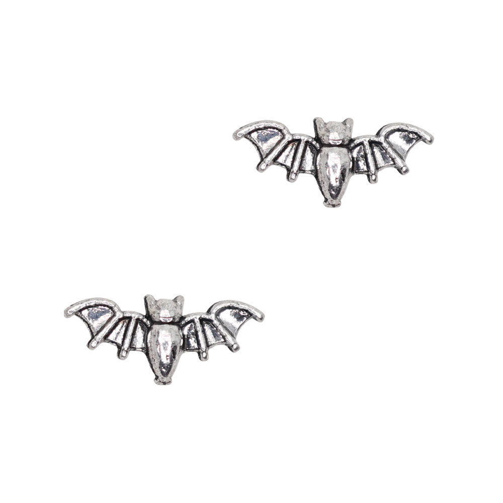 Vintage Bat Silver Halloween Nail Charms Decor Art Supply