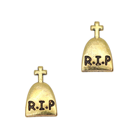 Vintage Tombstone / Gold Halloween Nail Charms Decor Art Supply