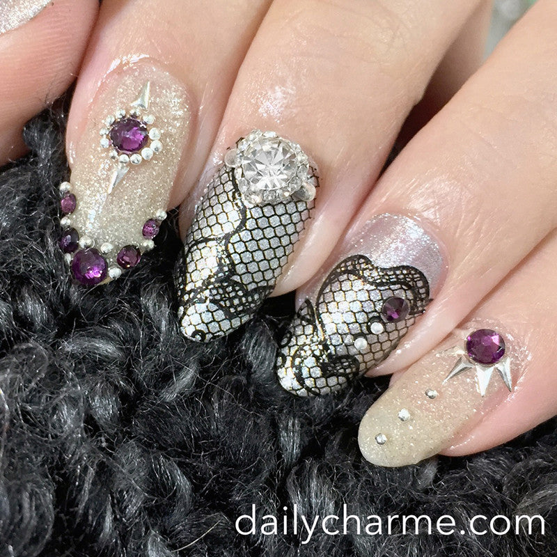 Dail Charme Trend Nail Art Decal Sticker Decal - Floral Fishnet Lace