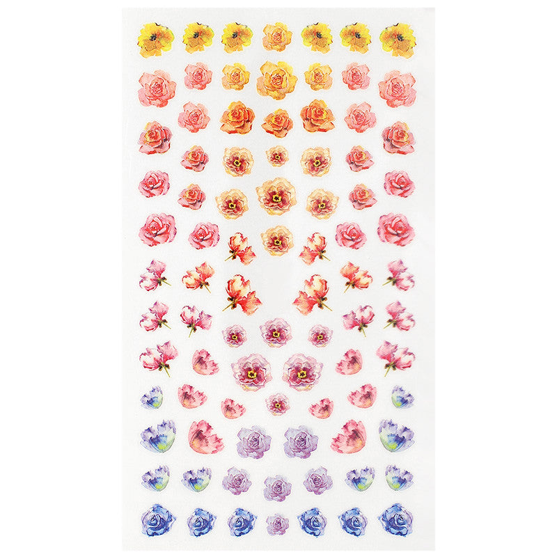 Daily Charme Nail Art Sticker Decal Colorful Watercolor Roses