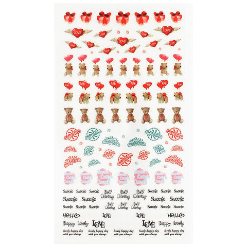 Daily Charme Nail Art Sticker Decal Lovely Valentine Teddy