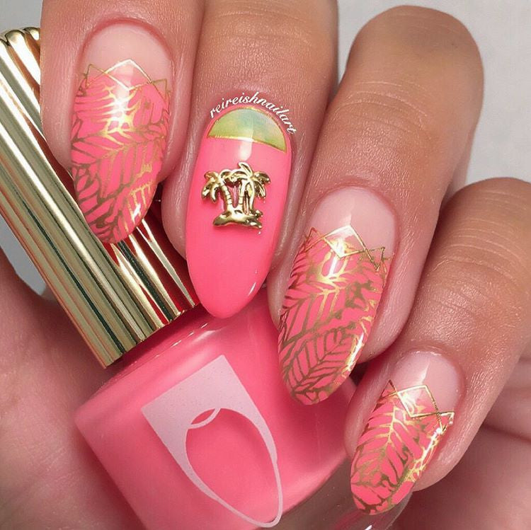 Retro Charms Nail Jewelry Palm Trees Summer