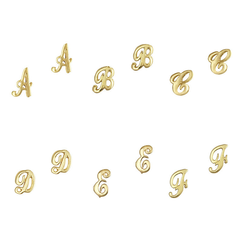 Retro Nail Charm Jewelry / Letter A-F