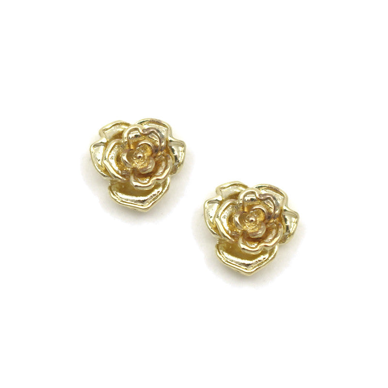Nail Charm 3D Art Jewelry Supply Gold Rose Flower