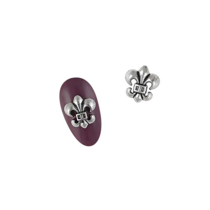 3D Nail Art Charm Jewelry Antique Fleur-de-lys / Silver