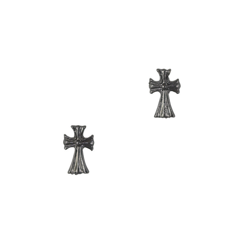 3D Nail Art Charm Jewelry Fancy Cross Gunmetal