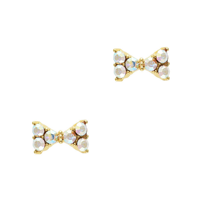 Simple Ribbon Swarovski Charm Gold AB Crystal