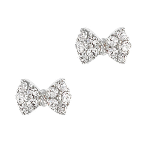 Princess Bow Swarovski Charm Silver Clear Crystal 3D Nail Art