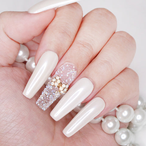 Princess Bow Swarovski Charm Gold White Opal 3D Nail Art