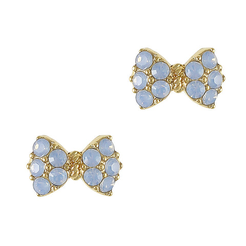 Princess Bow Swarovski Charm Gold Air Blue Opal 3D Nail Art
