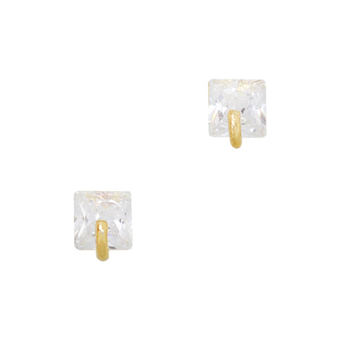 Daily Charme Nail Art Charms Simple Square Gem / Zircon Charm / Gold