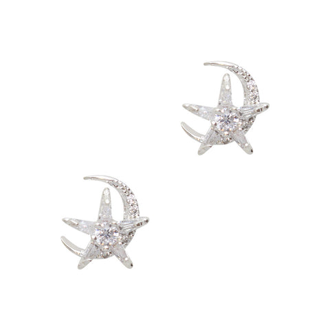 Daily Charme Nail Art Charms Starry Moon / Zircon Charm / Silver