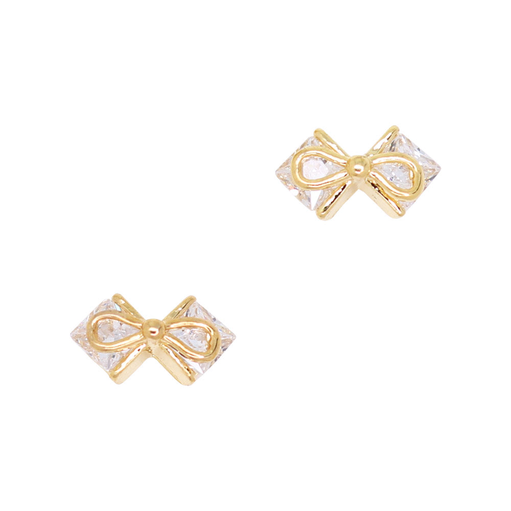Daily Charme Nail Art Charms Boutique Bow / Zircon Charm / Gold