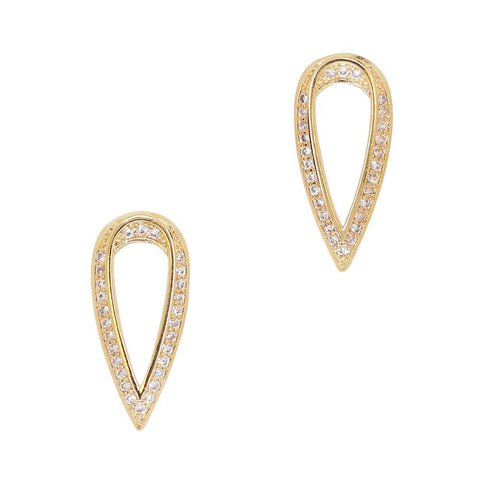 Daily Charme Adorned Teardrop Zircon Gold Clear Charms Shape charm elegant gorgeous perfect stiletto almond Beautiful clear zircon crystals embed teardrop shaped intricate simple