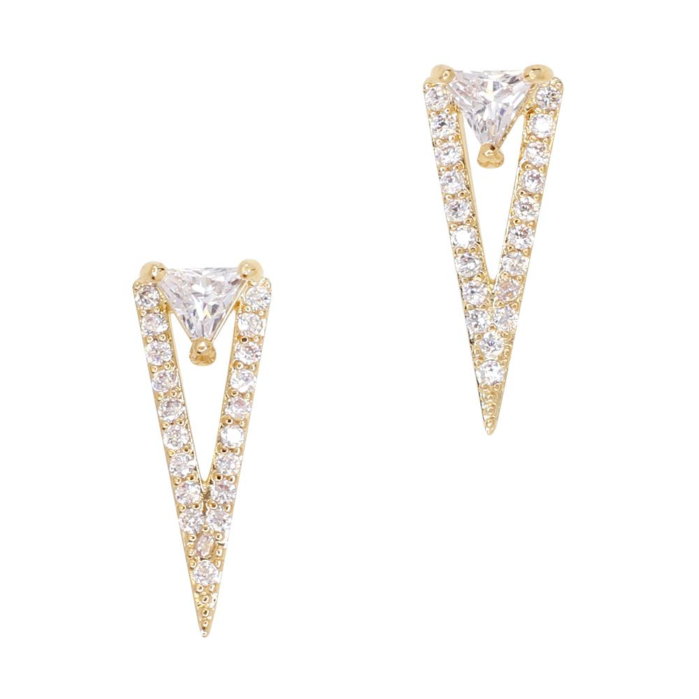 Daily Charme Opulent Triangle Zircon Gold Clear Charms Vintage Shape simple geometric design embellished embellish brilliant clear zircon crystals stiletto oval coffins coffin perfect Gatsby Era Reusable curvednatural shape nails