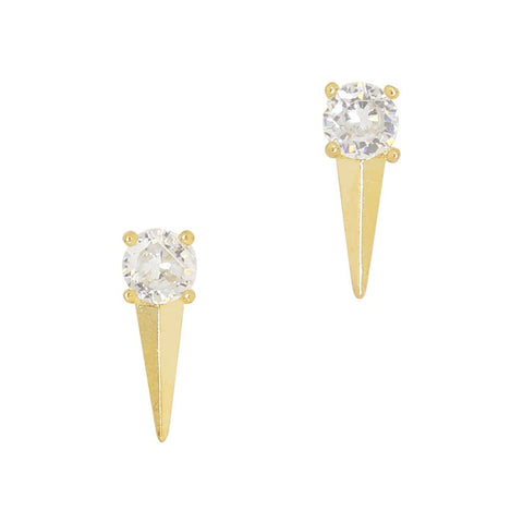 Daily Charme Diamond Spike Zircon Gold Clear Charms Shape chic edgy long triangle stud adorn adorned beautiful crystal clear gold manicure nail shapes Reusable curved fit natural shape nails