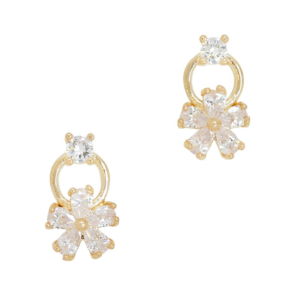 Daily Charme Flower Ring Zircon Gold Clear Charms Kawaii Nature adorable charming dainty lovely designperfect accent peice for your next spring inspired nail.