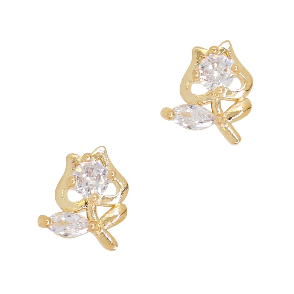 Daily Charme tulip Sugar Apple Zircon Gold Clear Charms Kawaii Nature charm innocent adorable accent escape enchanted fairytale bad apple evil witch reusable curved natural shape nails