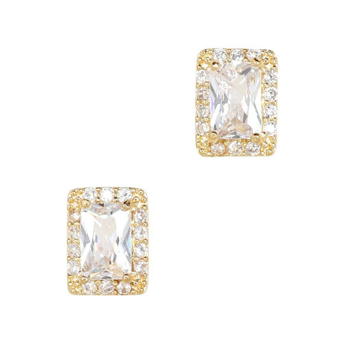 Daily Charme Gilded Rectangle Zircon Gold Clear Charms Vintage gleaming lavish one large radiant rectangular zircon enveloped complementary crystals timeless design perfect all nail shapes reusable curved fit natural shape nails
