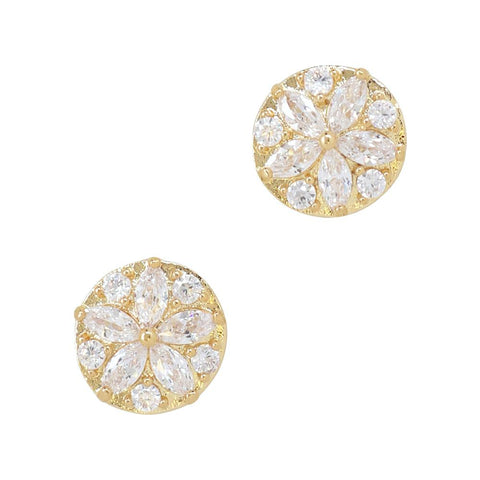 Daily Charme Brilliant Bellflower Zircon Gold Clear Charms Nature Shape adorable round charm is the perfect jewelry any nail shape natural charm dazzling symbolizes affection constancy everlasting romance sparkle