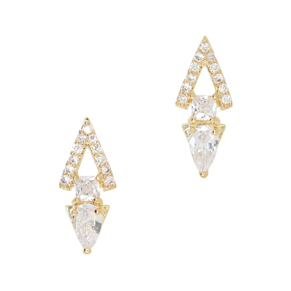 Daily Charme Linked Triangles Zircon Gold Clear Charms Vintage Shape Reusable curved natural shape nails charm edgy chic simple geometric design crystals edge