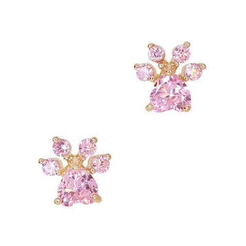 Daily Charme Pink Paw Zircon Gold Colored Charms Kawaii Creature Reusable curved natural shape nails simply adorable perfect obsessed fur baby dainty best pal finger tips cat cats kitty kitties meow