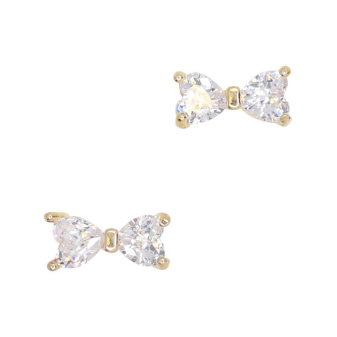 Daily Charme Dapper Bow Zircon Gold Clear Charms Bow Reusable curved natural shape nails elegant charming dazzling heart shaped cystals dainty perfect nail any occasion nail design