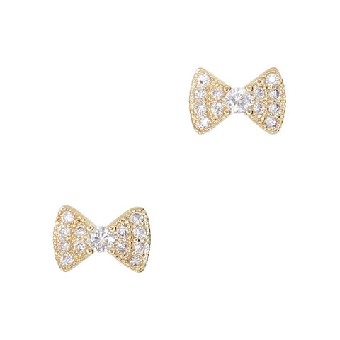 Daily Charme Deluxe Bow Zircon Gold Clear Charms Bow Reusable curved natural shape nails classy exquisite classic bow shape embedded sparkling zircon crystals dainty perfect occasion complement