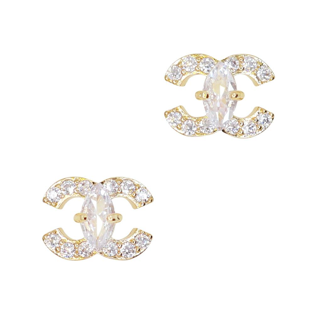 Daily Charme Embellished Coco Zircon Gold Clear Charms Vintage Symbol Reusable curved natural shape nails luxurious beautiful classic coco symbol lavish dazzling dazzle zircon crystals love beauties