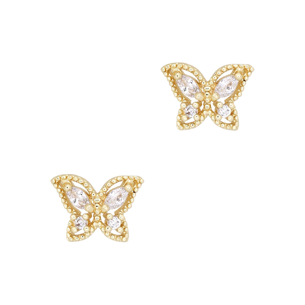 Airy Butterfly / Zircon Charm / Gold Spring Nail Art