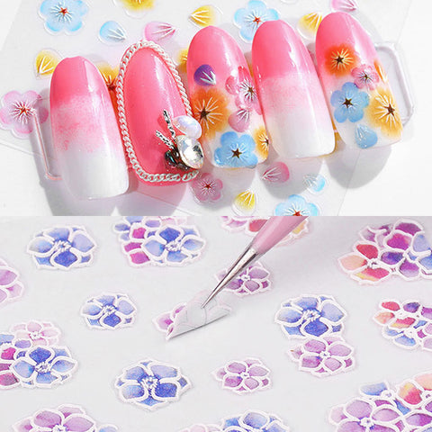 Embossed 3D Nail Art Sticker / Cherry Blossom Colorful Flowers Petals