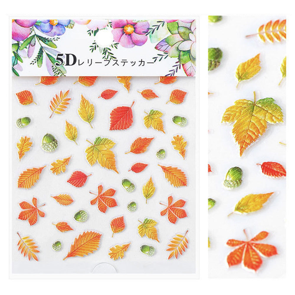 Embossed 3D Nail Art Sticker / Fall Leaves Red Orange Yellow Green Gradient