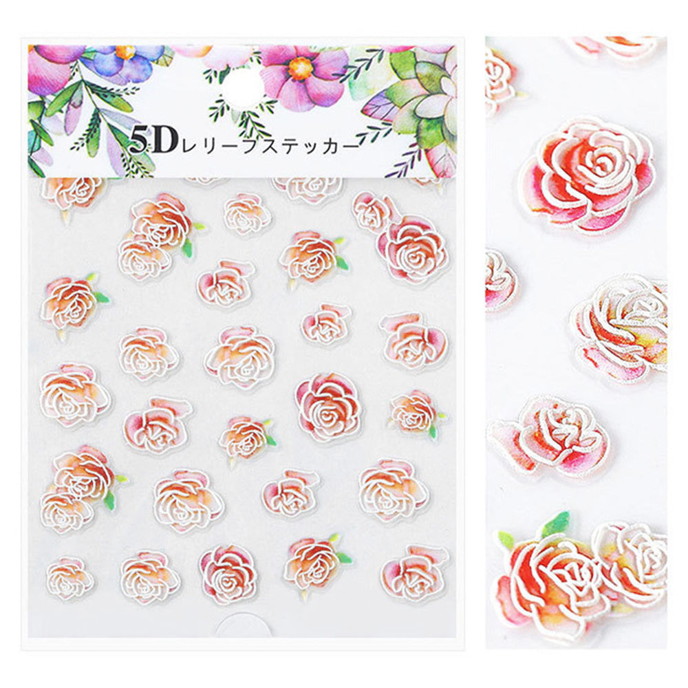 Embossed 3D Nail Art Sticker / Romantic Roses Red Pink