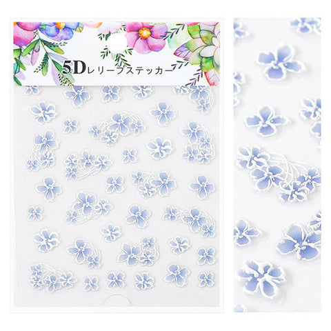 Embossed 3D Nail Art Sticker / Blue Irises Wedding Nails