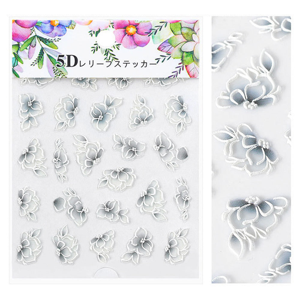 Embossed 3D Nail Art Sticker / Gray Gardenia