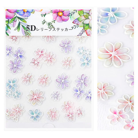 Embossed 3D Nail Art Sticker / Rainbow Daisy Spring Nails