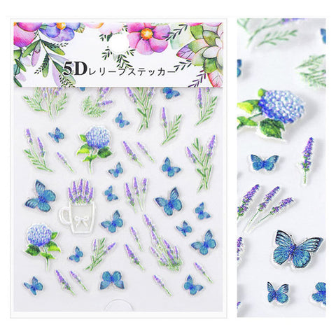 Embossed 3D Nail Art Sticker / Butterfly & Lavender