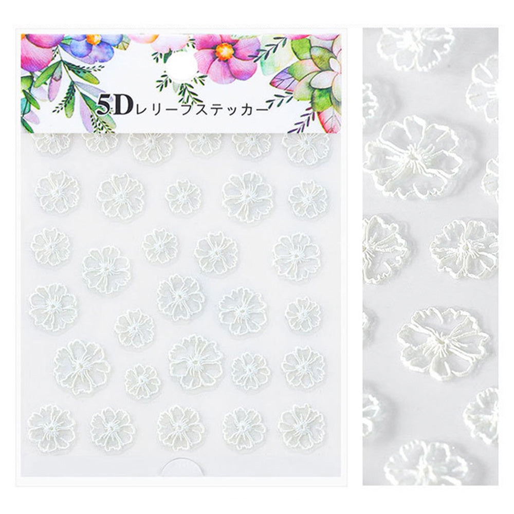 Embossed 3D Nail Art Sticker / White Lace Daisy Wedding
