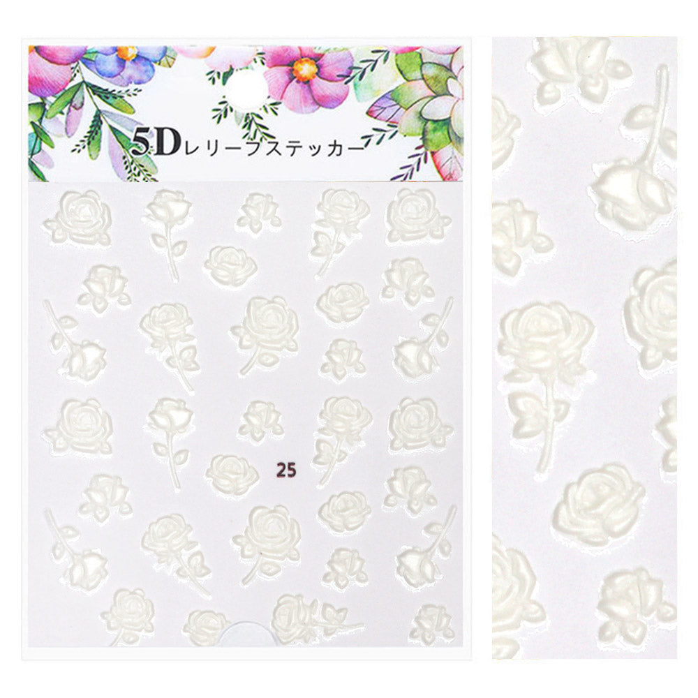 Embossed 3D Nail Art Sticker / Enchanted Roses