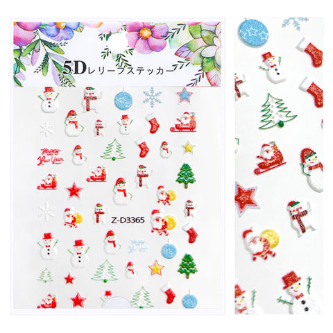 Embossed 3D Nail Art Sticker / Snowman Party Holiday Manicure