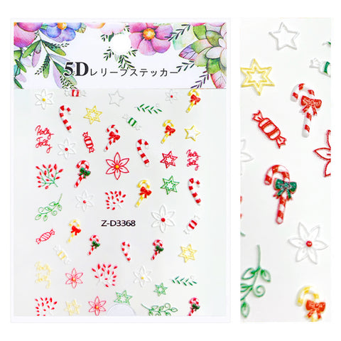 Embossed 3D Nail Art Sticker / Holiday Treats Christmas Holiday